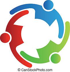 teamwork, 3, vektor, omfavnelse