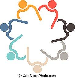teamwork, 7, cirkel, interlaced.