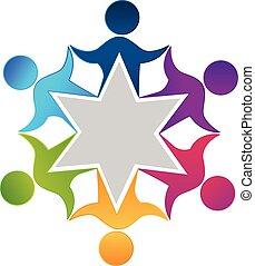 teamwork, arbejdere, folk, enhed, konstruktion, logo
