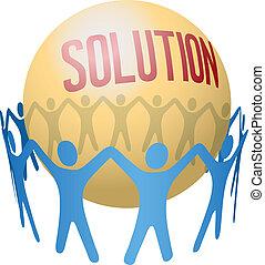 teamwork, grundlæg, sammenvokse, løsning, folk