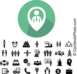 teamwork, ikon, sæt, firma