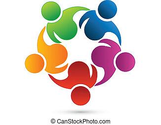 teamwork, networking, logo