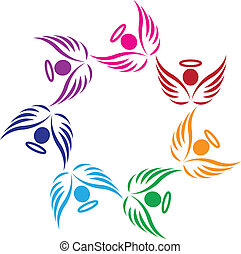 teamwork, understøttelse, engle, logo