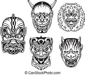 teatralsk, dæmoniske, noh, japansk, masker