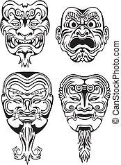 teatralsk, noh, japansk, masker