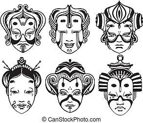teatralsk, tsure, noh, japansk, masker