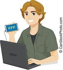 teenager dreng, ambulant, app, programmering, illustration