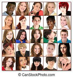 teenager, femogtyve, ansigter