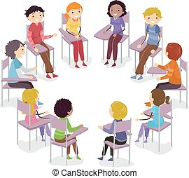 teenager, konversation, stol, stickman, cirkel