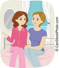 teenager pige, mor, samtalen, soveværelse