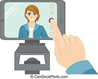 teenager, selfie, illustration, audition, video, guy
