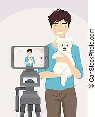 teenager, vlogging, guy, hund, illustration