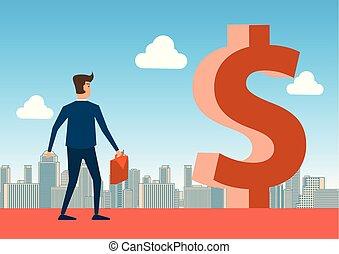 tegn, ahead, betyde, forretningsmand, gang, dollar, illustration, held, rige, stor, begreb