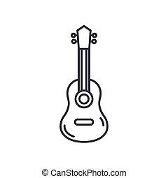 tegn, baggrund., editable, den agterste roer, guitar, tynd, begreb, isoleret, symbol, ikon, væv, vektor, illustration, udkast, konstruktion, lineære, hvid linje