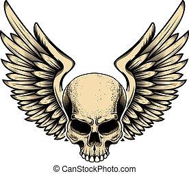 tegn., emblem, baggrund., etikette, vektor, element, konstruktion, illustration, bevinget, kranium, hvid, firmanavnet, logo, isoleret, tatovering