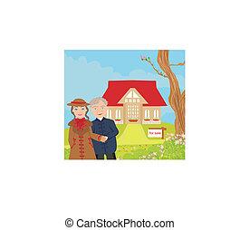 tegn, hus, illustration, moderne, omsætning, vektor, stor, smukke
