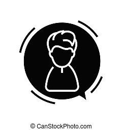 tegn., illustration, begreb, glyph, sort, tal, dreng, lejlighed, ikon, vektor, symbol
