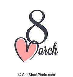 tegn., marts, kvinder, 8, hjerte, dag, tekstning