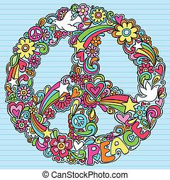 tegn, psykedeliske, dykke, doodles, fred