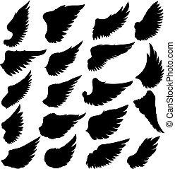 tegn., sæt, emblem, baggrund., etikette, element, vektor, konstruktion, illustration, stor, vinger, hvid, silhuetter, logo