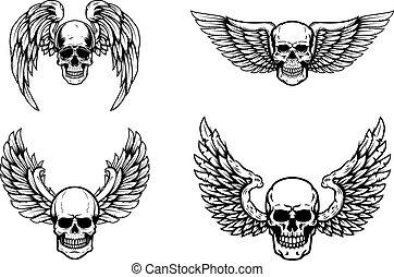 tegn., white., sæt, illustration, etikette, element, vektor, konstruktion, bevinget, kranium, emblem, logo, isoleret, menneske