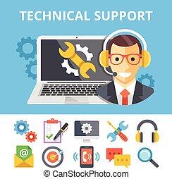 tekniske, lejlighed, understøttelse, illustration