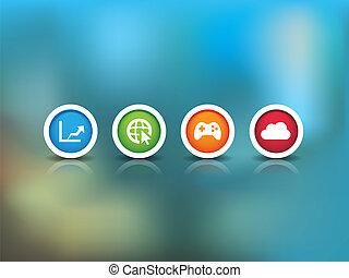 teknologi, baggrund, iconerne