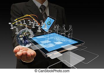 teknologi, forretningsmænd, hånd