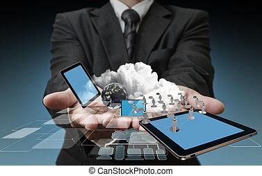 teknologi, forretningsmænd, hænder