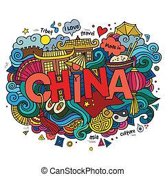 tekstning, elementer, dårlige, hånd, baggrund., vektor, kina, doodles