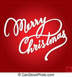 tekstning, jul, (vector), hånd