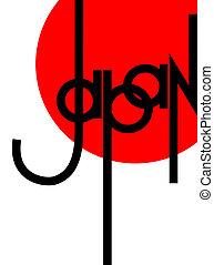 tekstning, moderne, original, japan, hånd, komposition