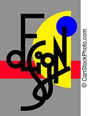 tekstning, moderne, original, konstruktion, hånd, komposition