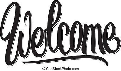 tekstning, skriv, velkommen, hånd