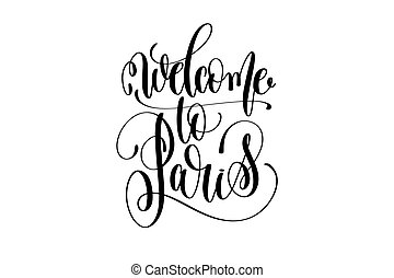 tekstning, velkommen, indskrift, paris, moderne, typografi, hånd