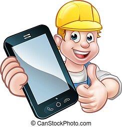 telefon, eller, begreb, mekaniker, handyman