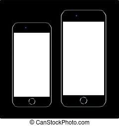 telefon, sort, nye, smartphone, varemærke, realistiske, ambulant