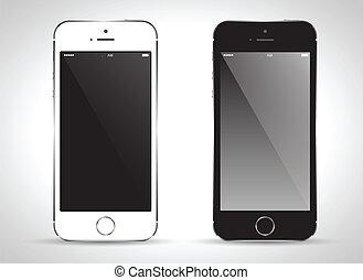 telefon, sort, white., raffineret