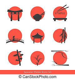 tema, sæt, japansk, iconerne