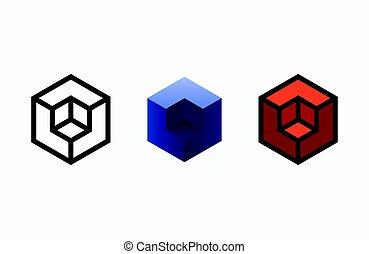 template., logotype, logo, design., emblem, sekskant, studio, kreative