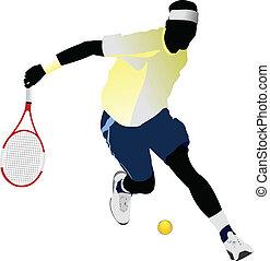 tennis, vektor, farvet, player.