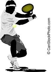 tennis, vektor, player., illustration