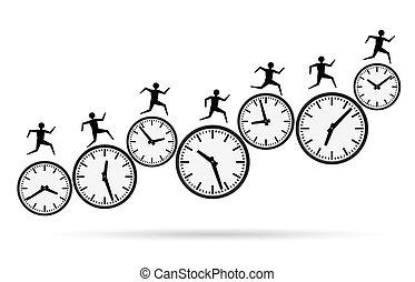 tid, løb, fortravlet, ydre, begreb
