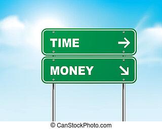 tid, tegn, penge, vej, 3