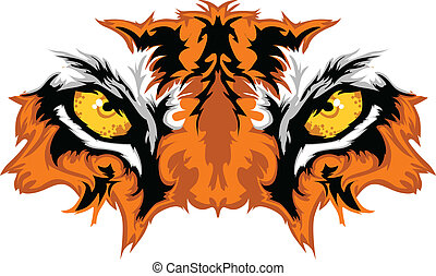 tiger, øjne, mascot, grafik