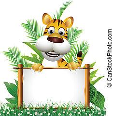 tiger, cartoon, planke