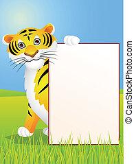 tiger, cartoon, tegn, blank
