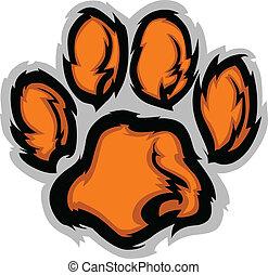 tiger, illustratio, pote, vektor, mascot