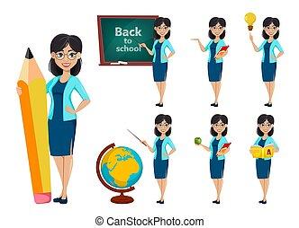 tilbage, school., lærer, cartoon, kvinde, karakter