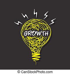 tilvækst, pære, skitse, konstruktion, glose